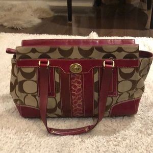 Coach monogram purse with red leather